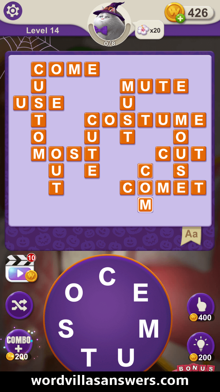 Word Villas Halloween Level 14 Answers